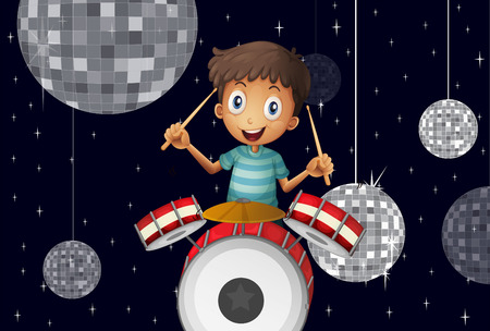 Illustration of a young drummer at the disco house Stock Vector - 25984753