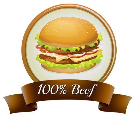 Illustration of a pure beef label with a burger on a white background Vector