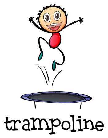 bouncing: Illustration of a young boy playing with the trampoline a white background
