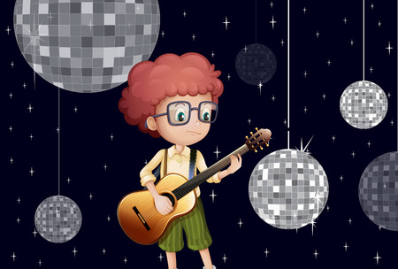 plucking an instrument: Illustration of a boy playing with his guitar at the disco house