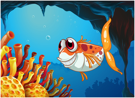 isolatd: Illustration of a smiling fish under the sea inside the cave Illustration