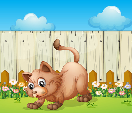 back ground: Illustration of a cat playing at the backyard Illustration
