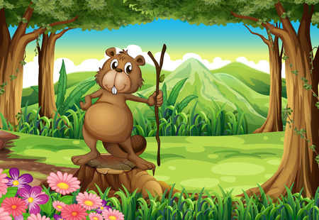 Illustration of a beaver at the forest standing above the stump Vector