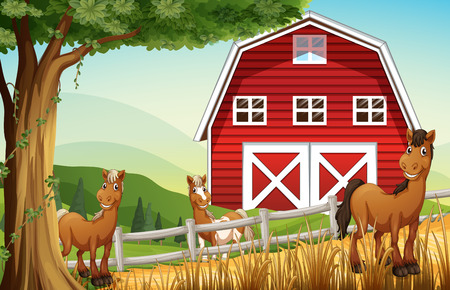 Illustration of the horses at the farm near the red barnhouse Vector