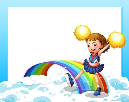 cheer leader: Ilustraci�n de una plantilla vac�a con un cheerer y un arco iris