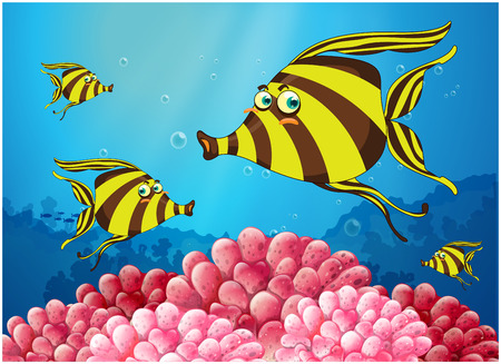 Illustration of a group of stripe-colored fishes under the sea on a white background Vector