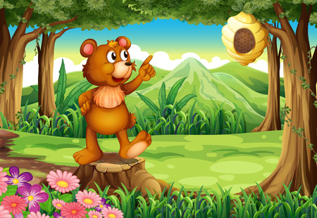 Illustration of a bear at the forest standing above the stump near the beehive Vector