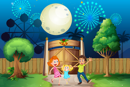 fenced: Illustration of a happy family outside amusement park Illustration