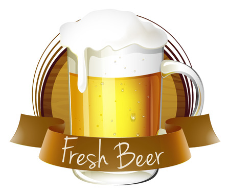 bitter: Illustration of a mug of beer with a fresh beer label on a white background