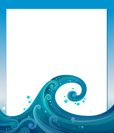 Illustration of an empty template with blue waves Illustration