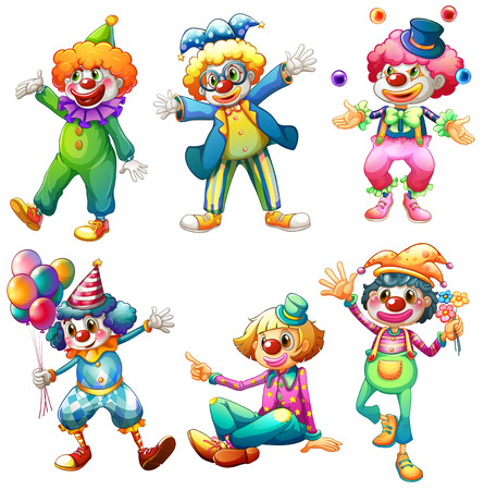 cartoon ball: Illustration of a group of clowns on a white background