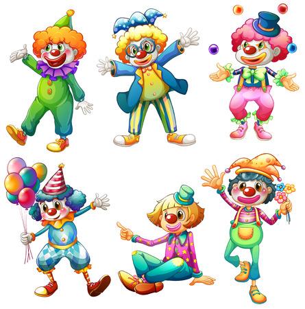 Ilustracja z grupy klaunów na białym tle