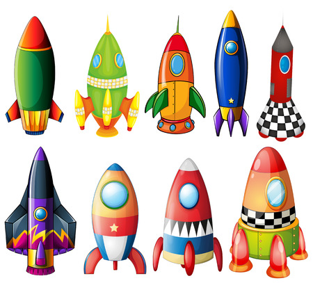 manmade: Illustration of the colorful rockets on a white background