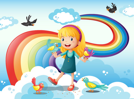 Illustration of a girl and a group of birds in the sky near the rainbow Vector