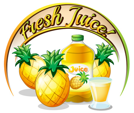 pineapple juice: Illustration of a fresh juice label with pineapples on a white background