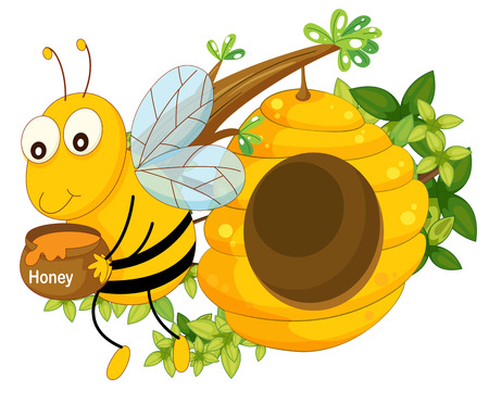 hindwing: Illustration of a bee holding a pot of honey near the beehive on a white background