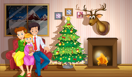 christmas room: Illustration of a family inside the room with a christmas tree