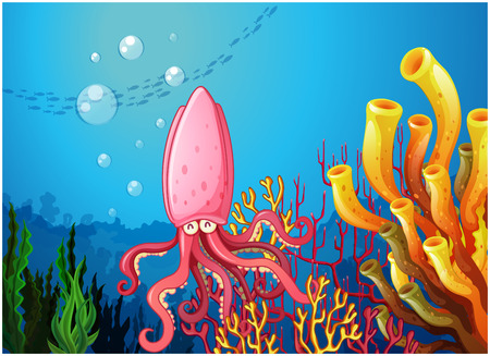 Illustration of an octopus under the ocean  Vector