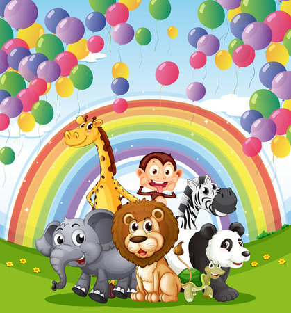 Illustration of the animals below the  floating balloons and rainbow Vector