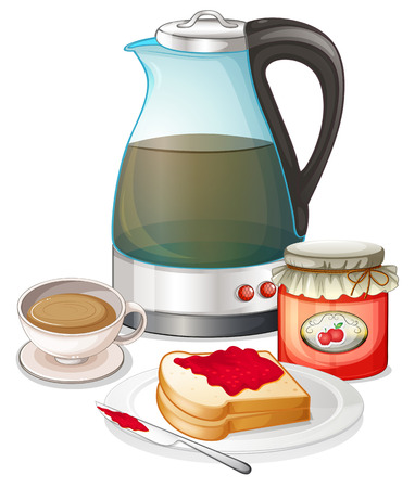 jam sandwich: Illustration of an apple jam and a pitcher of juice on a white background