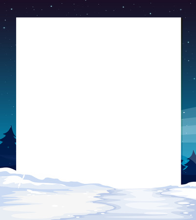 Illustration of an empty paper template with a snow-covered land at the bottom Stock Vector - 25985649