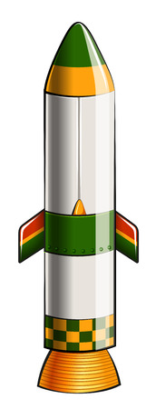 computerized: Illustration of a green and yellow colored rocket on a white background