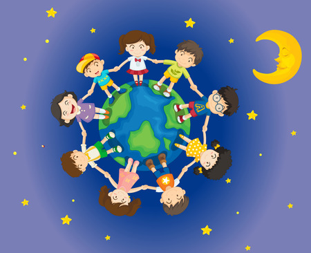 Illustration of the happy kids surrounding the Earth Vector