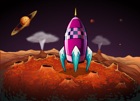 outerspace: Illustration of a rocket at the outerspace near the planets