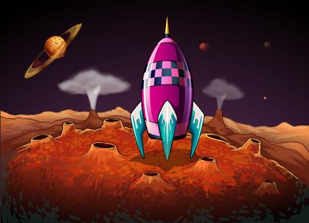 outerspace: Ilustraci�n de un cohete en el espacio exterior cerca de los planetas