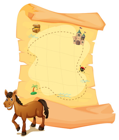 jewel box: Illustration of a horse in front of the treasure map on a white background Illustration