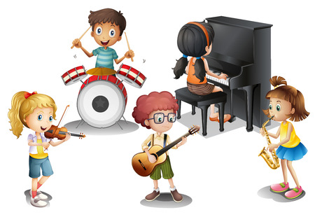 drumming: Illustration of a group of talented kids on a white background