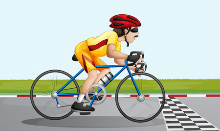 cartoon biker: Illustration of a biker near the finish lane