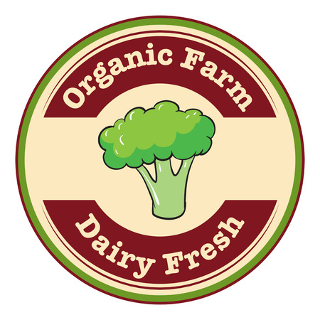 dairy farm: Illustration of an organic farm and dairy fresh label on a white background
