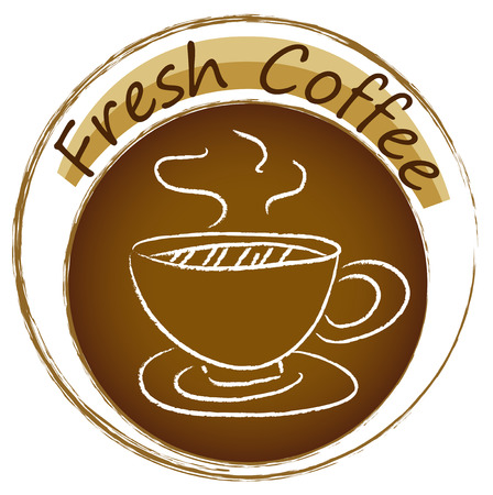 brownish: Illustration of a fresh coffee label on a white background Illustration