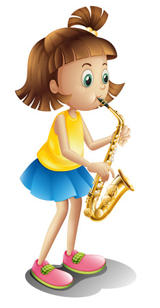 young musician: Illustration of a young lady playing with the saxophone on a white background