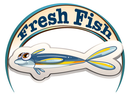 labelling: Illustration of a fresh fish label with a small fish on a white background