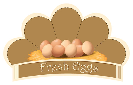 Illustration of a fresh eggs label with eggs on a white background Vector