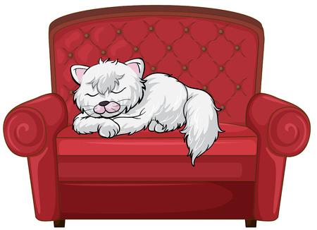 red couch: Illustrazione di un gatto che dorme sonni tranquilli alla sedia su uno sfondo bianco Vettoriali