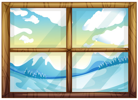 cartoon window: Illustration of a view of the winter from the window on a white background Illustration