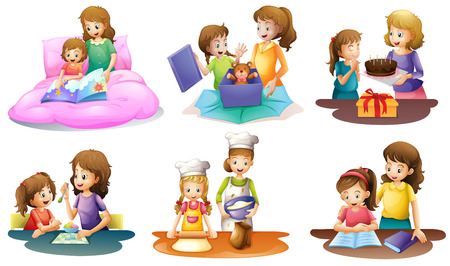 Illustration of a mother and daughter bonding moments on a white background Vector