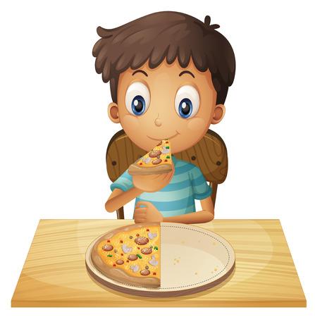 흰색 배경에 피자를 먹는 어린 소년의 그림 일러스트
