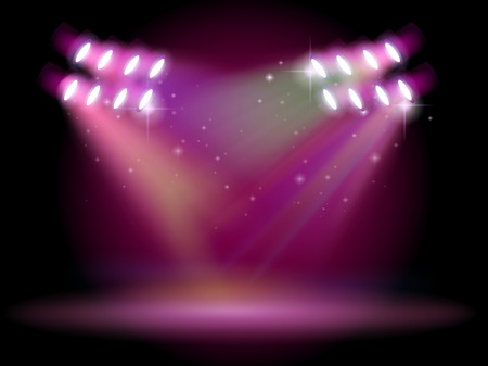 Illustration of an empty stage with spotlights Stock Vector - 25985720