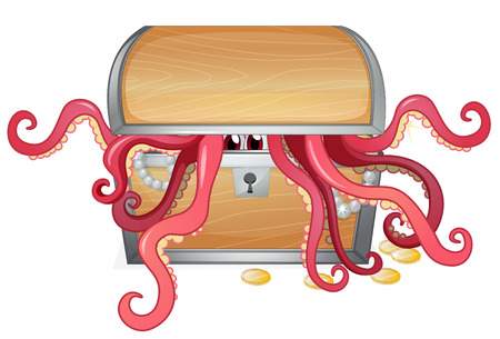 Illustration of a treasure box with an octopus inside on a white background Vector