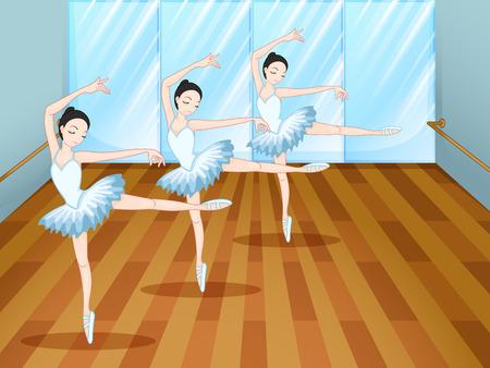 ballet studio: Illustration of the three ballet dancers inside the studio Illustration