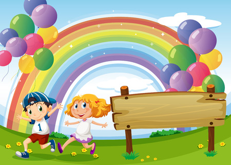 balloon woman: Illustration of an empty board and two kids playing below the floating balloons and rainbow