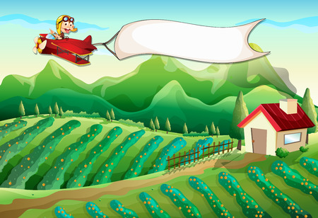 Illustration of a pilot with an empty banner flying above the farm Vector