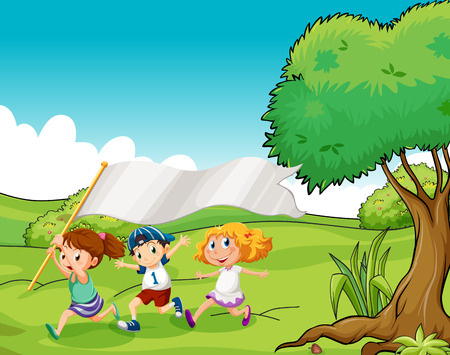 hilltop: Illustration of the three kids at the hilltop with an empty flag banner