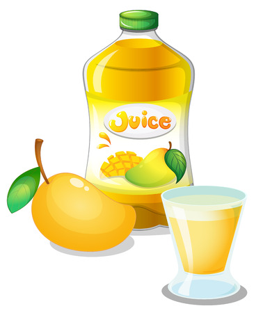 Illustration of a mango juice drink on a white background Vector
