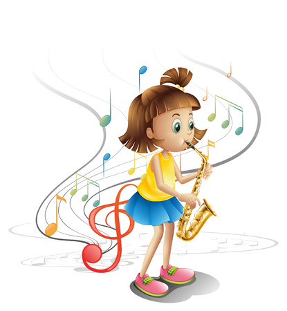 talented: Illustration of a talented child with a saxophone on a white background