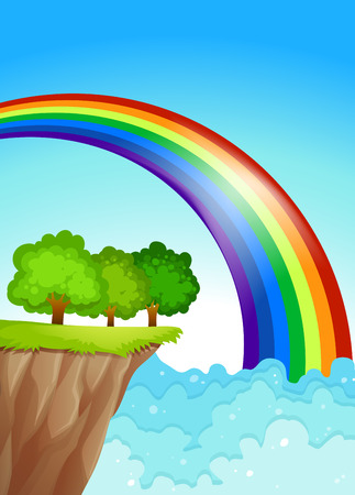 endpoint: Illustration of a beautiful rainbow in the sky